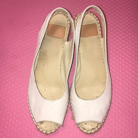 White Leather Espadrille Wedges